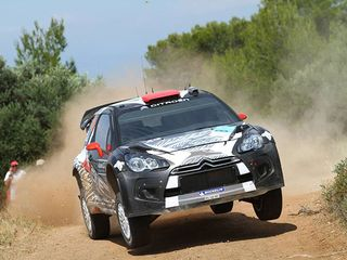 Кими Райкконен за рулём Citroen DS3 WRC на трассе Rally of Greece, 2011 год